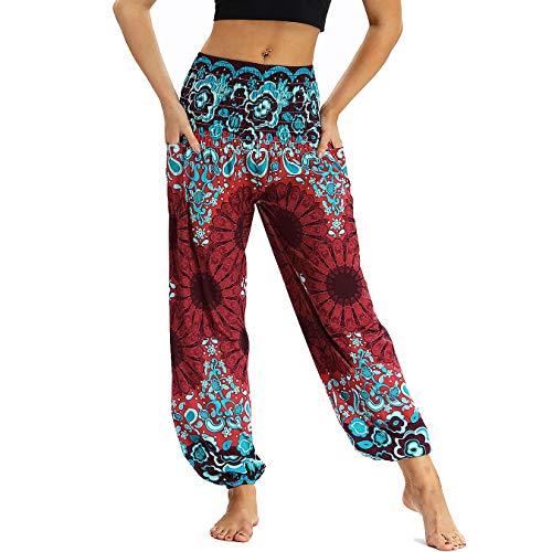 Nuofengkudu Femme Harem Pantalon Sarouel Thailande Vintage Print Hippie Style Taille Elastique Baggy Leger avec Poches Yoga Pants ,Vin Rouge Floral,Taille unique