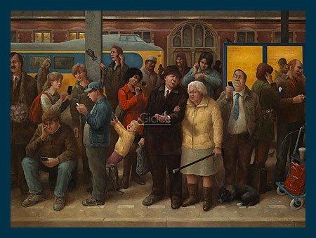 Bild mit Rahmen Marius van Dokkum - Ladies and Gentlemen - Holz blau, 40 x 30cm - Premiumqualität - , Karikatur, Menschen, Menschenmenge, Bahnhof, Gleis, Wartende, Zug, komisch, lustig, Trep.. - MADE IN GERMANY - ART-GALERIE-SHOPde