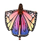 LERFEY Prop Soft Fabric Butterfly Wings Shawl Fairy Nymph Pixie Costume Accessory, Rose Blue, 168x135CM