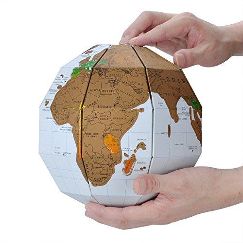 AkoAzul 3D Weltkarte zum Rubbeln, Reisende, Globetrotter und Weltenbummler