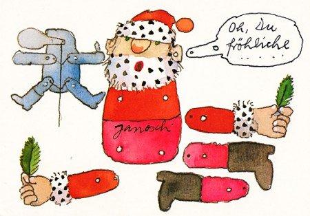 Janosch WeihnachtsPOSTkarte Weihnachts-Hampelmann zum Basteln