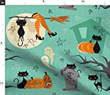vintage halloween fabric - Spoonflower Fabric - Vintage Halloween Cats Retro Fifties Treat Witch Witches Style Black Printed on Petal Signature Cotton Fabric by The Yard - Sewing Quilting Apparel Crafts Decor