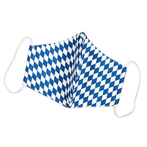 Hochwertige Stoffmaske waschbar Bayernmaske im Trachtenlook | Mund-Nasen-Schutz aus Stoff | Bayernraute & -karos | verschiedene Designs (Himmel d. Bayern)