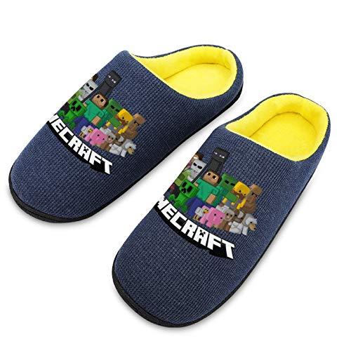 Pillow Socks Mi-necra-ft Herren gemütliche atmungsaktive Baumwolle Hausschuhe mit rutschfester TPR-Gummisohle Mode Casual Strickstoff Schuhe für Jungen 7-8