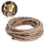 Cable eléctrico de lino Favolook de 5m vintage trenzado de cobre retro para luz de bricolaje y lámpara de techo industrial
