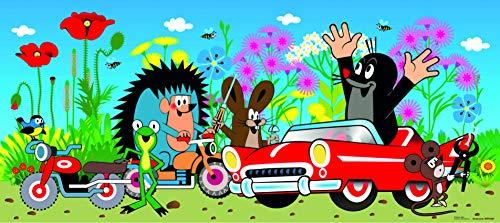 1art1 Der Kleine Maulwurf - Krtek and His Car Vlies Wand-Foto-Poster-Tapete | Moderne Dekoration Wand-Deko Wohnzimmer Schlafzimmer Büro Flur 202 x 90 cm
