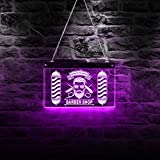The Geeky Days Custom Barber Shop LED Neon Sign Barber Pole Styling Logo Haircuts and Shaves Acrylic Hanging Decorative Board Hairdresser Gift