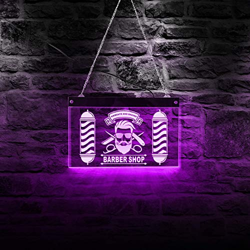 The Geeky Days Custom Barber Shop LED Neon Sign Barber Pole Styling Logo Haircuts and Shaves Acrylic...