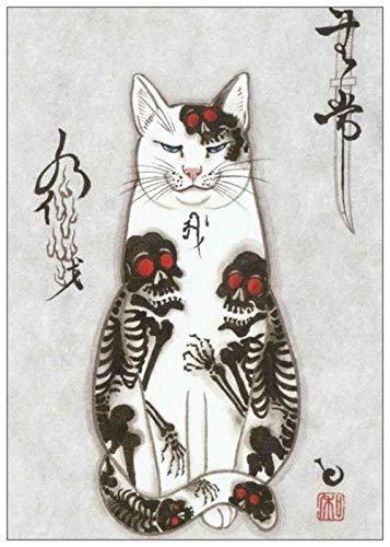HUA JIE Bilder Auf Leinwand Großbilder Wohnkultur Leinwand Gemälde Japanische Samurai Katze Tattoo Katze Wandkunst Nordic Style Gedrucktes Posterbilder Wohnzimmer Groß