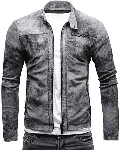 Crone Epic Herren Lederjacke Cleane Leichte Basic Jacke aus weichem Wildleder (L, Vintage Grau (Wildleder))
