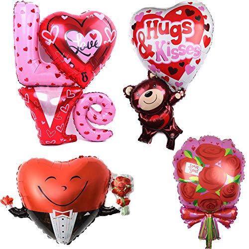 ED-Lumos 4 stks gigantische liefde hart met rode roos herbruikbare Helium Ballonnen voor Valentijnsdag bruiloft decoratie cadeau