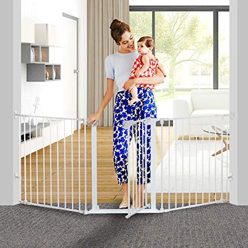 KingSo 80 inch Auto Close Baby Gate Super Wide Safety Gate Foldable Extra Wide 33-80 inch Walk Thru...