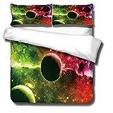 Funda de edredón estampada para cama doble y 2 fundas de almohada Planet Ultra Suave Hipoalergénico Ropa de cama de microfibra con cierre de cremallera