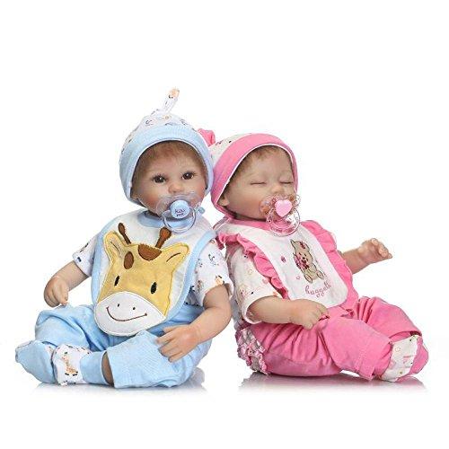 Reborn Bambino Bambola 16 Pollici 40 Centimetri Realistici In Silicone Morbido Bambini Ragazza Bambole Ragazzo Gemelli Così Realistico Alla Ricerca In Vinile Bambola Neonato Regalo Di Natale,Twins