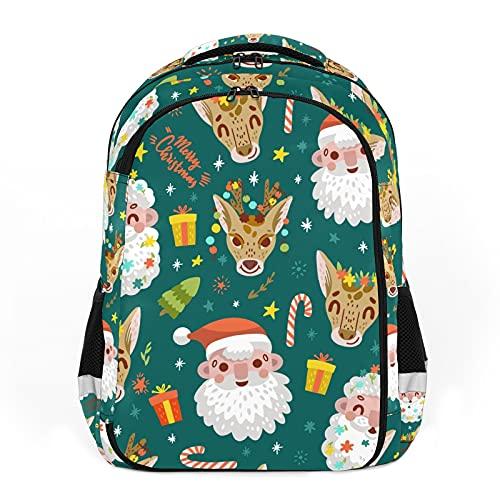 Mochila para niños unisex de dibujos animados para estudiantes escolares, impermeable, ideal para Navidad, Papá Noel, reno, color verde