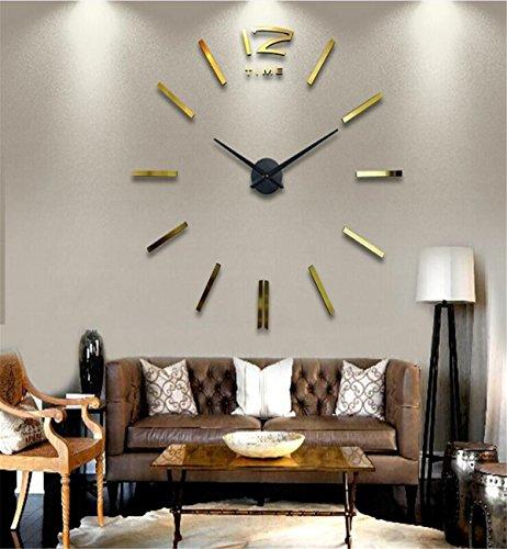 Sucastle® 3 in métal Horloge Murale Silencieuse Moderne Horloge Pendule Murale Style Vintage Horloge avec Décoration Maison 3D DIY Pendule Murale Moderne Métallique Horloge