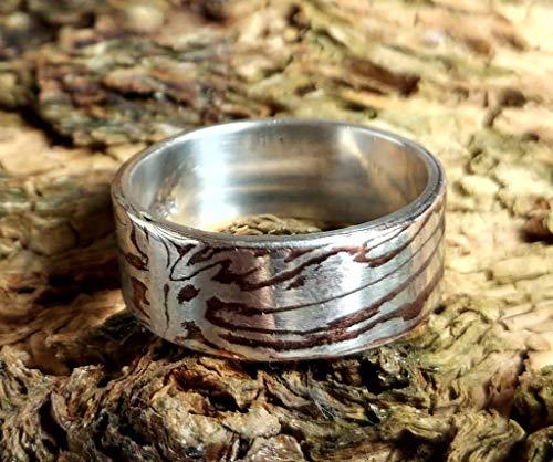 Mokume Gane Ring aus 999er Silber und Shakudo mit Innenring aus 935er Silber, Größe 64 (20.4), handgeschmiedetes Unikat