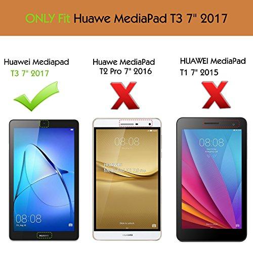 MoKo Huawei MediaPad T3 7.0 Hülle - Ultra Lightweight Slim PU Leder Tasche Schutzhülle Schale Smart Shell Case Cover mit Standfunktion für Huawei MediaPad T3 7.0 Zoll Tablet, Schwarz - 2