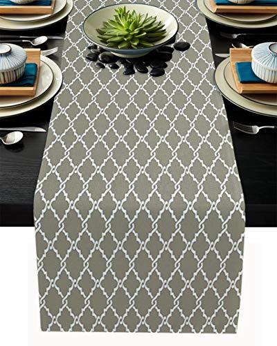 FAMILYDECOR Camino de mesa de arpillera de lino, bufandas de 33 x 30 cm, diseño geométrico, azulejos marroquíes, caminos de mesa para fiestas de vacaciones, comedor, cocina, decoración de boda