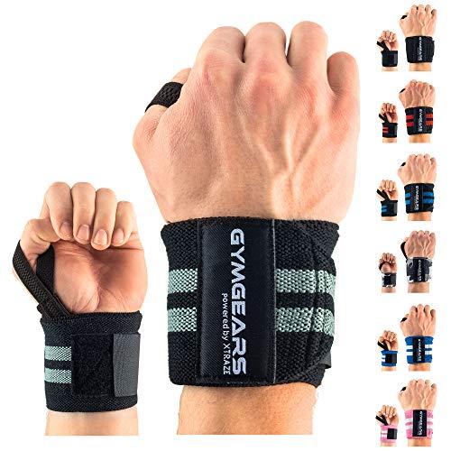 Handgelenk Bandagen [2er Set] Wrist Wraps 45cm - Profi Handgelenkbandage für Kraftsport, Bodybuilding, Powerlifting, CrossFit & Fitness - Für Frauen & Männer geeignet