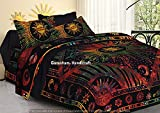 Indian Hippie Gypsy Home Decor Tapestry Boho Quilt Cover Throw Blanket Cotton Reversible Queen Tie & Die Mandala Duvet Cover Comforter Set (Multicolor) (Multi)