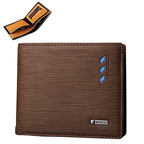 Billetera para Hombre, Cartera para Tarjetas de Crédito, Multifuncional Crédito con Bloqueo RFID para Tarjeta, 8 Ranuras para Tarjetas (1 Ranura para Fotos), 2 Ranuras para...