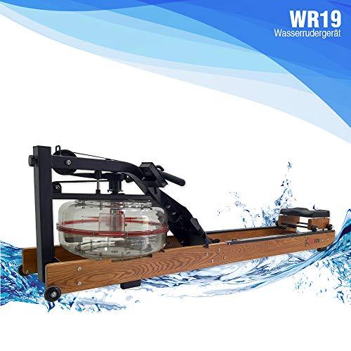 Fitifito WR19 Rudergerät Wasserrudergerät, 170kg maximales Benutzergewicht, 17l Wassertank, Widerstandseinstellung durch Wassertank-Regulierung, 120 cm Aluminiumgleitschiene, LCD-Display (Esche)
