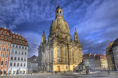 fancjj Puzzle 1000 Teile/Kirche Unserer Lieben Frau in Dresden, Deutschland / 50x75cm / Holzpuzzle Bild Erwachsene Kinder Kinder Spiele Lernspielzeug 1000 Stück