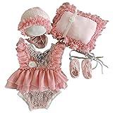 moregirl 5 Piezas Traje de fotografía para recién Nacidos Vestido de Encaje de bebé + Sombrero + Almohada + Pantalones Cortos + Conjunto de Zapatos