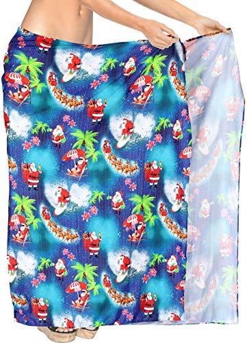 HAPPY BAY 3D Print HD Xmas Tree Holiday Party Costume Reindeer Theme Santa Claus Jingle Bells Sarong Swimwear Pareo Coverup Skirt Towel 78'X42' Blue_X523