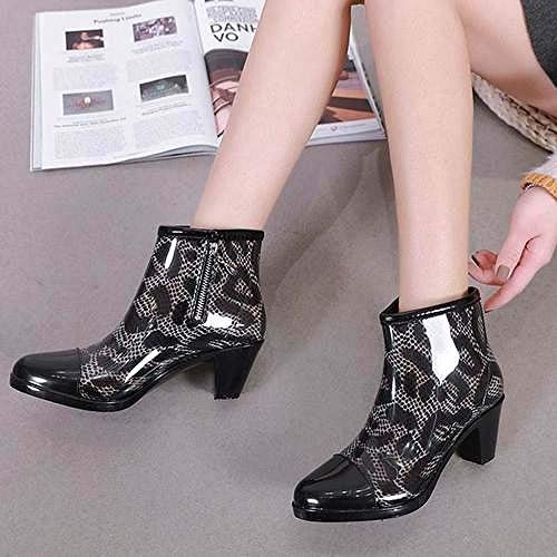 Women'S Rubber Enkel Wellies, Medium Mode Stijl Temperament Enkellaarzen Zwarte Luipaard Print Women'S Proof Chelsea Zachte Stof Voering Water Laarzen Cushioned Footbed Wellington Voor Over-Thelightwei