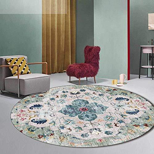 Alfombra redonda verde menta alfombra oriental bohemia, para sala de estar, dormitorio, sofá, sala de juegos, habitación para niños, silla columpio, cabecera antideslizante-160 cm de diámetro