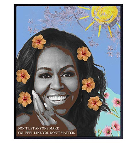 Michelle Obama Inspirational Quote Contemporary Pop Art Home Decor - Motivational Modern Wall Art Poster Print for Bedroom, Living Room, Office - Great Gift for Black, African American Women, Woman