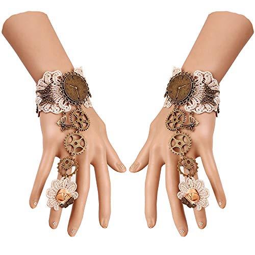 Daimay Gothic Handstulpe mit Brosche Victorian Steampunk Handgelenk Cuff Gear Armband für Hochzeit Braut Halloween Fasching Accessoires - 1 Paar – Ausrüstung Stil Hellbraun