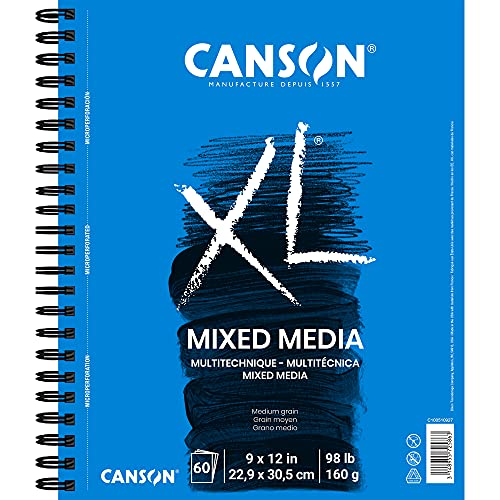 Canson 100510927 XL Series Mix Paper Pad, 98 Pound, 9 x 12 Inch, 60 Sheets, 1-Pack
