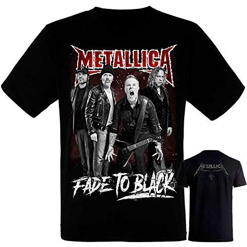 Metallica-Band- Grupo - Camiseta Negra Hombre Manga Corta - Metallica Tshirt (M)