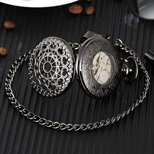 DFBGL Pocket Watch Vintage Pocket Watch Hand-winding Mechanical Movement Watches Silver/Black/Gold Pendant with 30CM Chain Steampunk steampunk buy now online