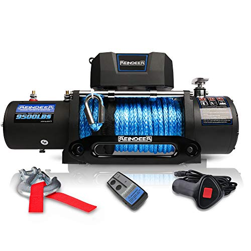 REINDEER 12V Winch High Load Capacity Electric Winch Kit Steel Cable or Synthetic Rope for ATV UTV with Hawse Fairlead Waterproof IP67 with Wireless Remotes (9500LBS, Synthetic Rope)
