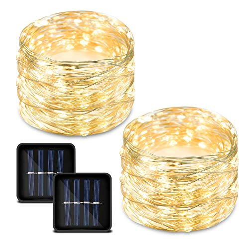 Bynhieo Led Solar String Lights Outdoor Waterproof Solar Fairy Lights Warm White with 8 Modes 33ft 100LED Pack of 2 Decorative String Lights for Patio, Garden, Christmas