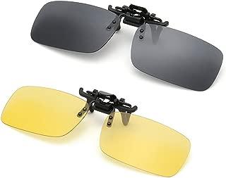 MOPANXI Clip on Flip up Polarized Frameless Rectangle Lens Sunglasses UV400 Anti Glare Night Vision Glasses for Driving