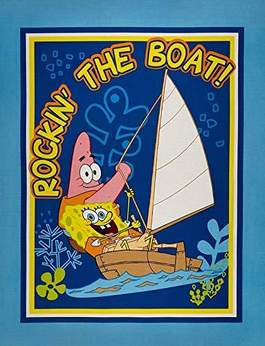 Spongebob Squarepants & Patrick'Rockin' The Boat!' Cotton Fabric Panel...