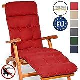 [page_title]-Beautissu Auflage für Deckchair Flair DC 200x50x8cm Liege-Stuhl Polster-Auflage mit Schaumflockenfüllung in Rot