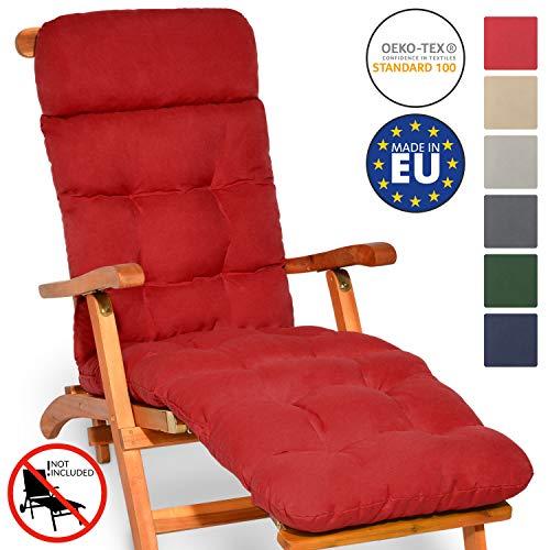 Beautissu Auflage für Deckchair Flair DC 200x50x8cm Liege-Stuhl Polster-Auflage mit Schaumflockenfüllung in Rot