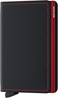 SECRID - Secrid Slim wallet Genuine Matte Leather RFID Safe Card Case for max 12 cards (Black Red)