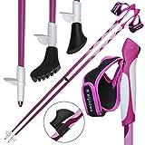 ALPIDEX Bâtons de Marche Nordique LIPSTIX bâton à Taille Fixe en Carbone Disponibles en Tailles différentes, Longueur:120 cm, Couleur:Rose-Blanc