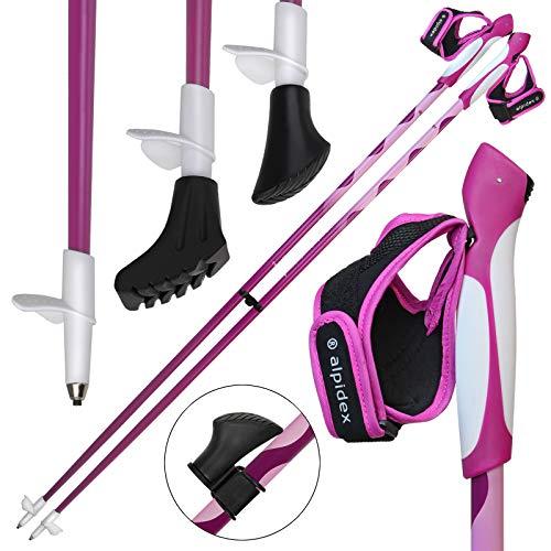 ALPIDEX Nordic Walking Stöcke LIPSTIX Fixlängenstock aus Carbon in verschiedenen Längen sehr leicht inkl. Gummipuffer und Padhalter ausklickbare Handschlaufen, Länge:120 cm, Farbe:Pink-Weiß