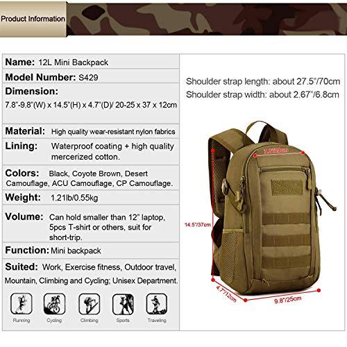 Huntvp 12L Mochila de Asalto Militar Táctical Molle...