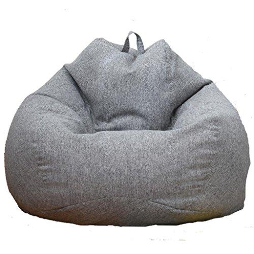 LOVIVER Cubierta de Sofá Funda de Silla de Puff Bean Bag Color Sólido Cierre de Cremallera Extralarga para Hogar Oficina - Gris, 60x75cm
