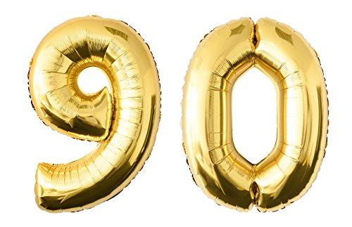 Folienballon 90 gold Zahlenballon Luftballon Riesenzahl Party Hochzeit Kindergeburtstag Geburtstag