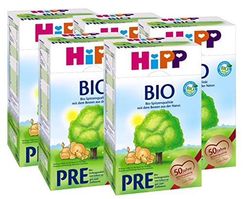 Hipp Bio Pre Anfangsmilch - von Geburt an, 5er Pack (5 x 600g)